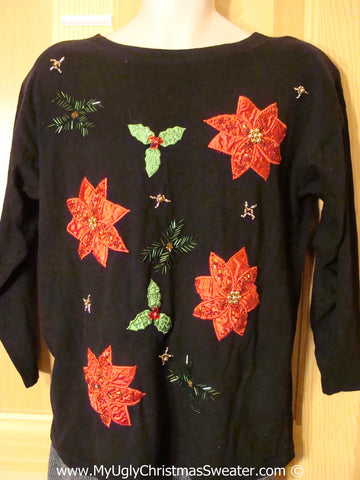 Cheap Tacky Christmas Shirt with Poinsettias 80s  (f1346)