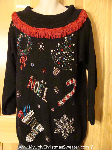 Horrible Bling Tacky Christmas Sweater with Fringe (f1347)