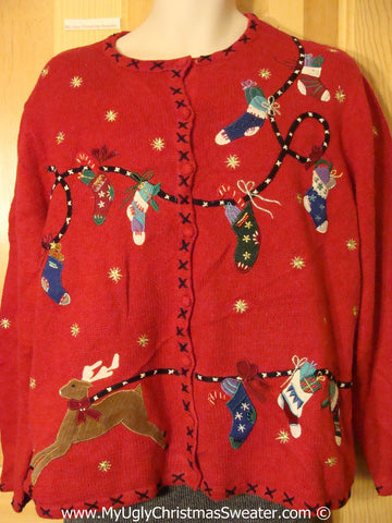 Two Sided Tacky Christmas Sweater with Reindeer and Stockings (f1348)