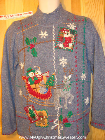 Tacky Ugly Christmas Sweater with a Snowman Sleigh and a Reindeer (f134)