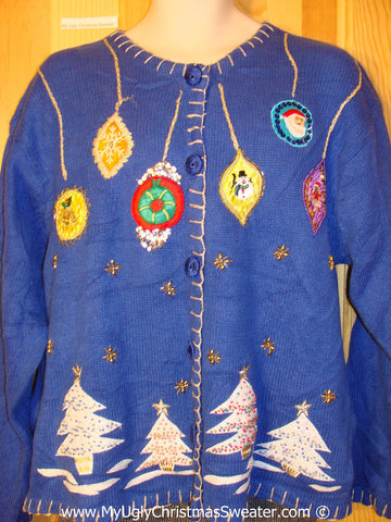 Tacky Blue Christmas Sweater with Ornaments and Trees (f1351)
