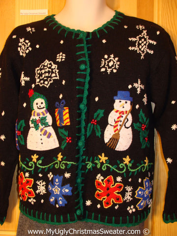 Tacky Christmas Sweater Nordic with Mr. and Mrs. Snowman (f1352)