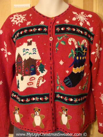 Gingerbread Themed Tacky Christmas Sweater with Bears (f1355)