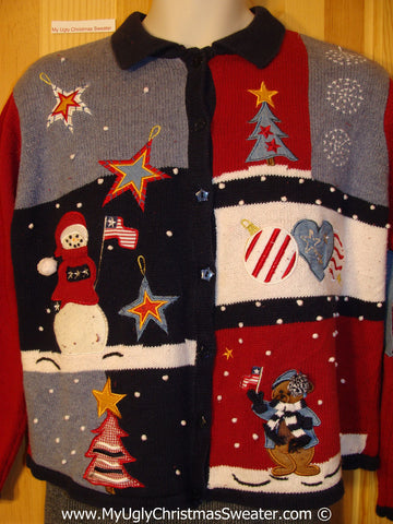 Patriotic Tacky Christmas Sweater with Bear and Snowman  (f1356)