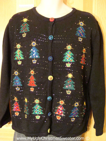 Tacky Christmas Sweater with Colorful Bling Trees (f1359)