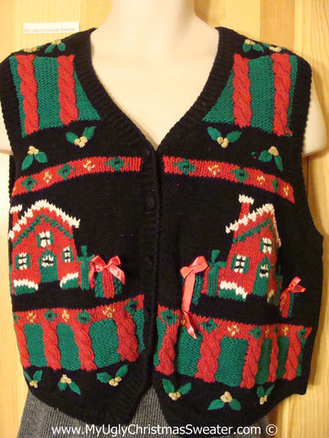 Tacky Christmas Sweater Vest with Snowy Houses (f1360)