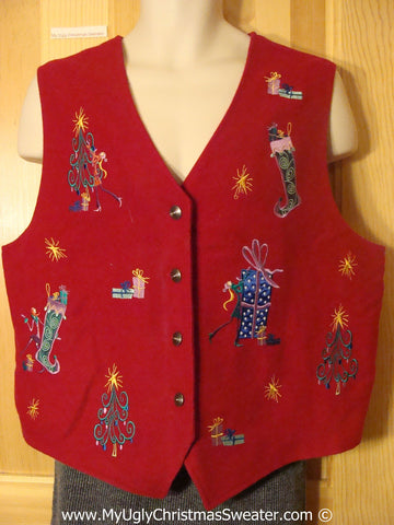 Cheap Tacky Red Christmas Vest  with Trees and Stockings (f1362)