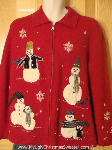 Tacky Red Christmas Sweater with Snowmen on Front and Back (f1363)