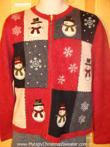 Red Tacky Christmas Sweater with Snowmen and Snowflakes (f1364)