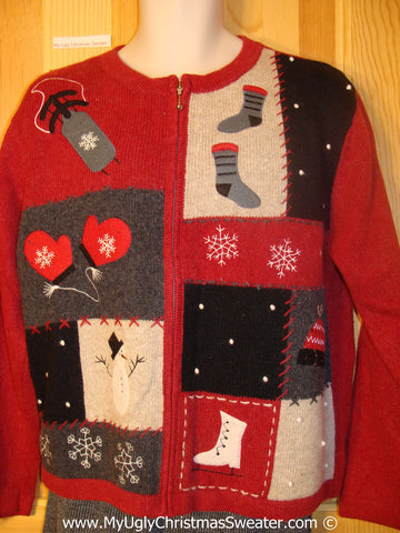 Tacky Red Christmas Sweater with Skates and Mittens (f1365)