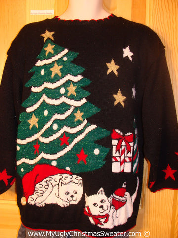 Tacky 80s Acrylic Christmas Sweater with Cats and Tree  (f1368)