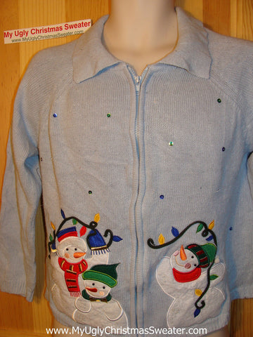 Tacky Ugly Christmas Sweater with a Snowman Family (f136)