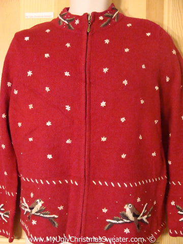 Tacky Snow Filled Red Christmas Sweater (f1372)