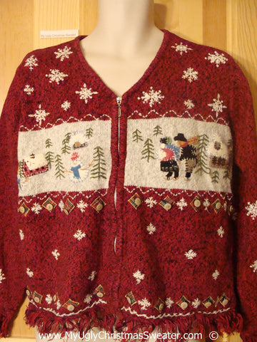 Tacky Fringed Christmas Sweater with Skating People (f1373)