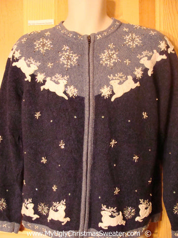 Tacky Nordic Themed Christmas Sweater with Leaping Reindeer (f1374)