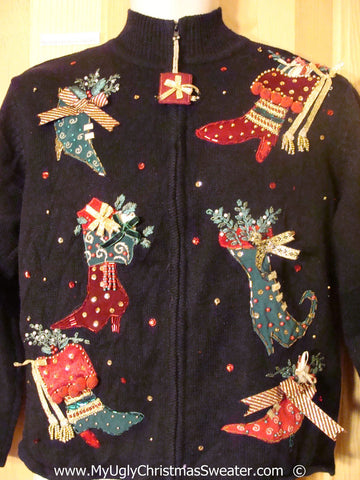 Tacky Christmas Sweater with High Heeled Stockings (f1376)