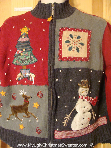 Tacky Christmas Sweater with Reindeer, Tree, and Snowman (f1377)