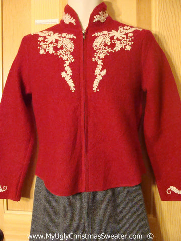 Red Wool Christmas Nordic Jacket with Tree on Back (f1378)