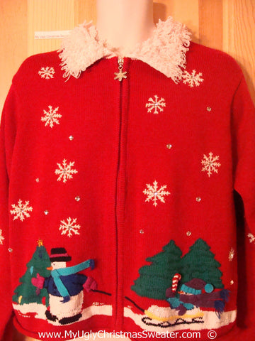Tacky Christmas Sweater with Snowman and Fluffy Collar (f1379)