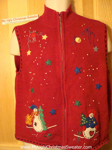 Tacky Ugly Christmas Sweater Vest with Snowmen in a Colorful Starry Night Sky (f137)