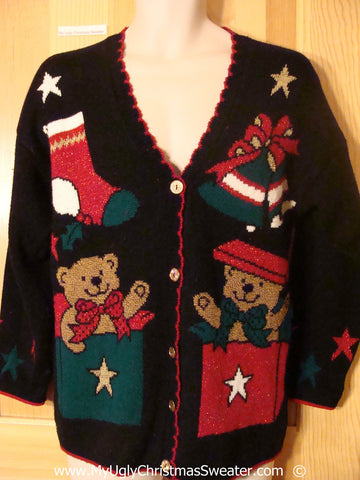 Tacky 80s Acrylic Cardigan Christmas Sweater with Bears (f1380)
