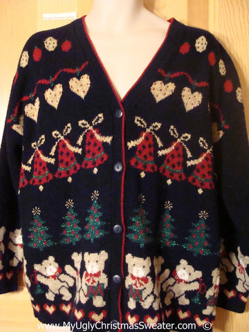Tacky 80s Christmas Sweater with 2sided Bears (f1381)