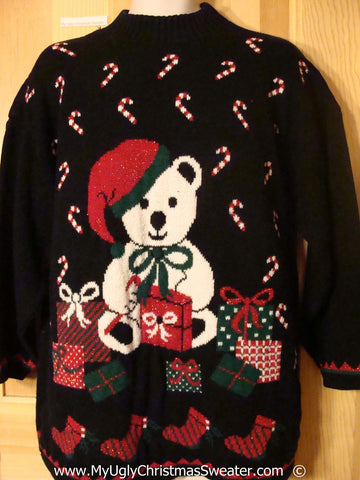 Tacky Retro 80s Christmas Sweater with Bear, Candycanes (f1382)