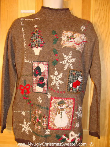Tacky Brown Horrid Christmas Sweater with Plaid Themed Decoratins (f1383)