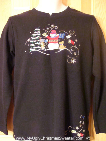 Cheap Tacky Christmas Sweater with Snowman in Winter (f1386)