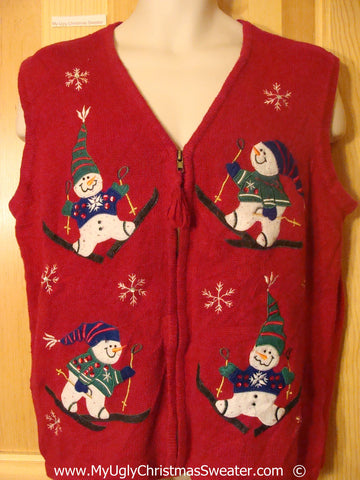 Ski Theme Tacky Christmas Sweater Vest with Snowman Friends (f1388)