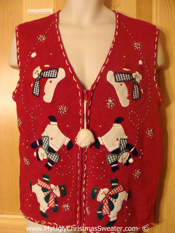 Tacky Christmas Sweater Vest with Tumbling Snowmen  (f1389)