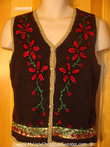 Tacky Christmas Sweater Vest with Poinsettias and Gold Trim (f1390)
