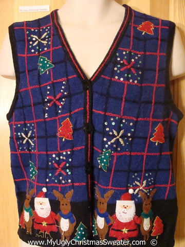 Tacky Blue Christmas Sweater Vest with Santa and Reindeer  (f1391)