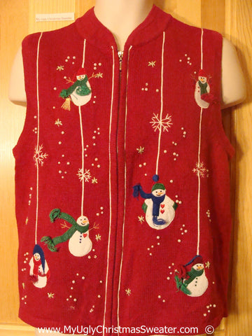 Tacky Christmas Sweater Vest with Dangling Snowmen  (f1392)