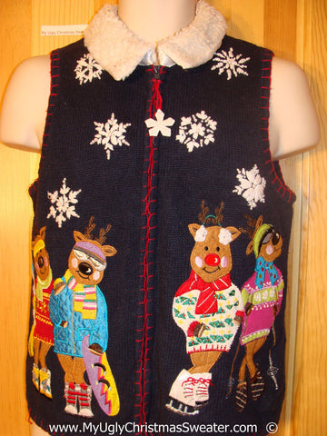 Ski Skate Themed Tacky Christmas Sweater Vest with Bears (f1393)