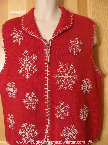 Tacky Red Christmas Sweater Vest with Huge Snowflakes (f1394)