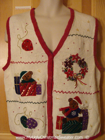 Tacky Christmas Sweater Vest with Zig Zag Grid of Decorations (f1395)