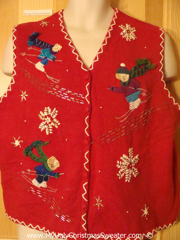 Tacky Red Christmas Sweater Vest with Skiing Bears (f1396)