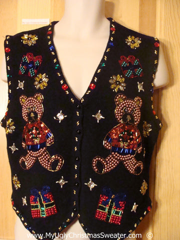 Seriously Blinged Tacky Christmas Sweater Vest with Bears  (f1397)