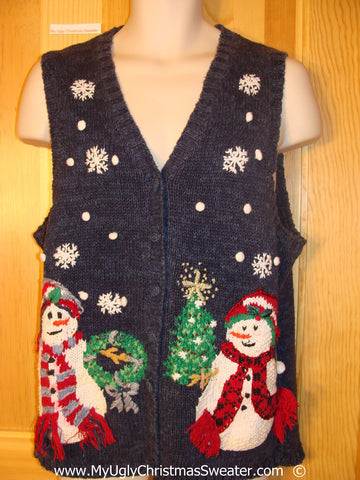 Cheap Tacky Snowman Themed Christmas Sweater Vest  (f1398)