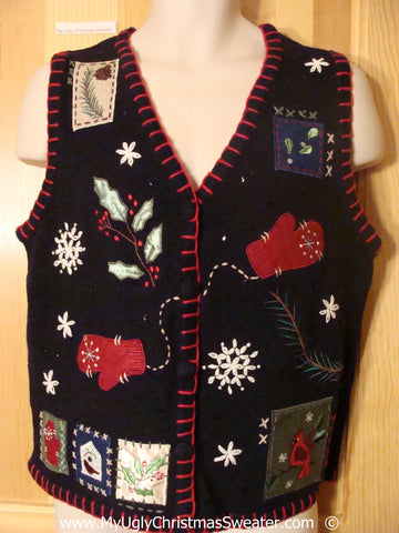 Cheesy Black Christmas Sweater Vest with Mittens