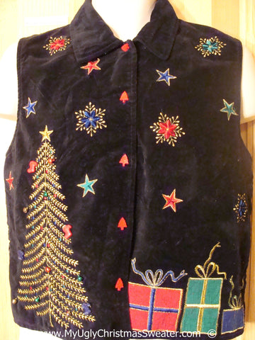 Cheesy Christmas Velvety Vest with Huge Tree and Gifts