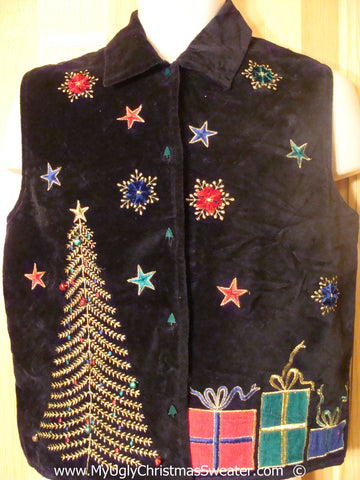Cheesy Black Christmas Sweater Vest with Tree, Gifts, and Stars