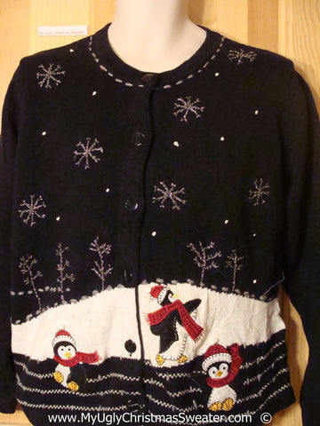 Penguin Themed Cheesy Christmas Sweater
