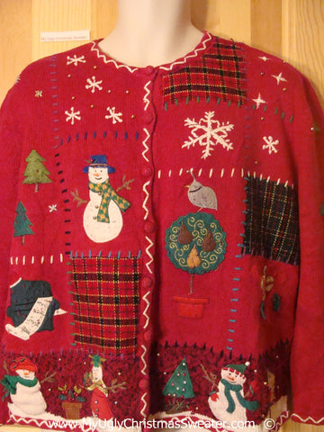 Patchwork and Snowman Themed Cheesy Christmas Sweater