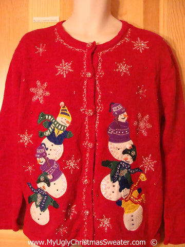 Toppling Snowman Themed Cheesy Christmas Sweater
