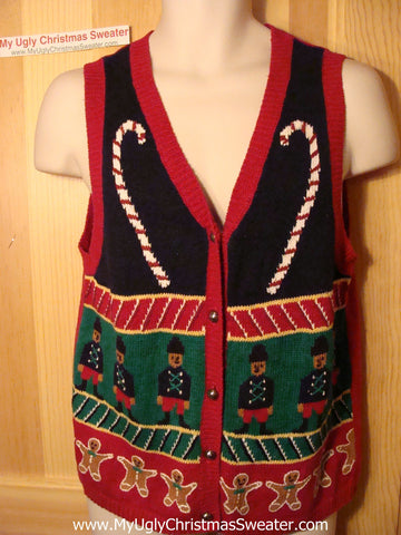 Tacky Ugly Christmas Sweater Vest with Nutcrackers and CandyCanes and Gingerbread Men (f140)