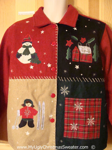 Plaid Decorations Crafty Cheesy Christmas Sweater
