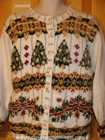 Horrible Green and Gold Trees Cheesy Christmas Sweater