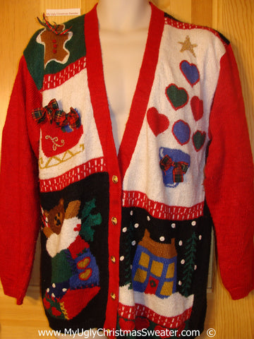 Bears and 3D Bows Cheesy 80s Christmas Sweater